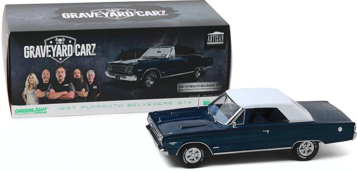 Plymouth Belvedere GTX Convertible 1967 blau weiß Graveyard Carz Modellauto 1:18