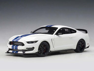 Ford Shelby GT-350R Oxford White Lightning Blue Stripes 1/18 Scale Diecast Car Model By AUTOart 72931