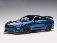 Ford Shelby GT-350R Lightning Blue Black Stripes 1/18 Scale Diecast Car By AUTOart 72933