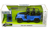 1992 Jeep Wrangler Blue With Extra Wheels 1/24 Scale Diecast Model By Jada Toys 31059