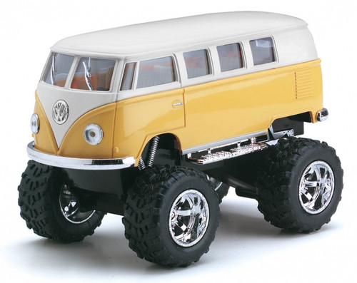"""1962 VOLKSWAGEN VAN BUS BIG FOOT OFF ROAD VW 1/32 SCALE 5"""" LONG PULL BACK ACTION DISPLAY TRAY TOYS BOX OF 12 BY KINSMART KT5060"""