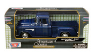 1955 Chevrolet Stepside 5100 Pick Up Truck Blue 1/24 Scale Diecast Model By Motor Max 73236