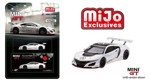 ACURA NSX GT3 NEW YORK AUTO SHOW 2016 MIJO EXCLUSIVE 3600 MADE 1/64 SCALE DIECAST CAR MODEL BY TSM MINI GT MGT00047