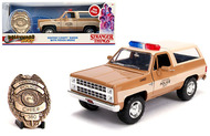 CHEVROLET BLAZER WITH POLICE BADGE HOOPER STRANGER THINGS 1/24 SCALE DIECAST CAR MODEL BY JADA 31111