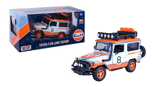 TOYOTA FJ40 LAND CRUISER GULF LIVERY 2400 MADE 1/24 SCALE BY MOTOR MAX 79658