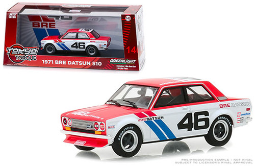 1971 Datsun 510 #46 BRE JDM 1/43 Scale Diecast Car Model By Greenlight 86335