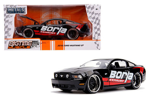2010 FORD MUSTANG GT BLACK BORLA 1/24 SCALE DIECAST CAR MODEL BY JADA TOYS 31322