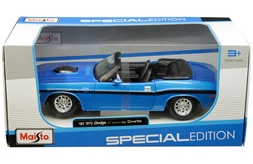 1970 Dodge Challenger R/T Convertible Blue 1/24 Scale Diecast Car Model By Maisto 31264