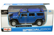 2003 Hummer H2 SUV Blue 1/27 Scale Diecast Car Model By Maisto 31231