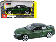 2019 AUDI RS 5 COUPE GREEN WITH BLACK TOP 1/24 SCALE DIECAST CAR MODEL BY BBURAGO 21090