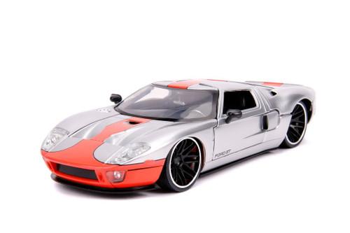 2005 Ford GT Silver 1/24 Scale Diecast Car Model By Jada Toys 31324