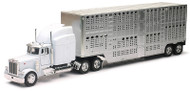 PETERBILT 379 POTBELLY LIVESTOCK SEMI TRUCK & TRAILER 1/32 SCALE BY NEWRAY 12073