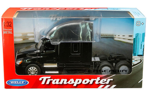 FREIGHTLINER CASCADIA TRANSPORTER BLACK CAB SEMI TRUCK 1/32 SCALE BY WELLY 32695