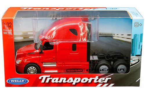 FREIGHTLINER CASCADIA TRANSPORTER RED CAB SEMI TRUCK 1/32 SCALE BY WELLY 32695