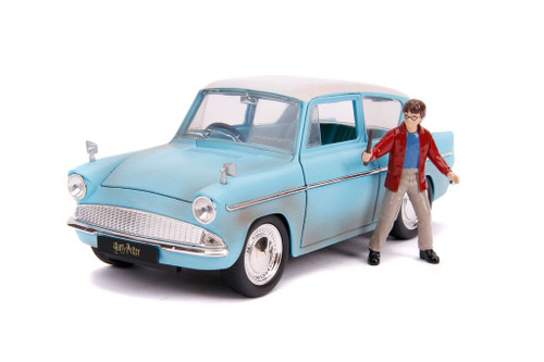 1959 FORD ANGLIA HARRY POTTER FIGURE HOLLYWOOD RIDES 1/24 SCALE DIECAST CAR MODEL BY JADA 31127