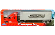 FREIGHTLINER CASCADIA TRANSPORTER RED WITH CONTAINER SEMI TRUCK & TRAILER 1/32 SCALE BY WELLY 32696