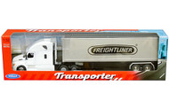 FREIGHTLINER CASCADIA TRANSPORTER WHITE WITH CONTAINER SEMI TRUCK & TRAILER 1/32 SCALE BY WELLY 32696