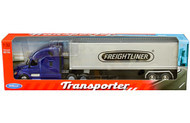 FREIGHTLINER CASCADIA TRANSPORTER BLUE WITH CONTAINER SEMI TRUCK & TRAILER 1/32 SCALE BY WELLY 32696