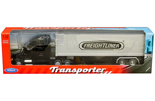 FREIGHTLINER CASCADIA TRANSPORTER BLACK WITH CONTAINER SEMI TRUCK & TRAILER 1/32 SCALE BY WELLY 32696