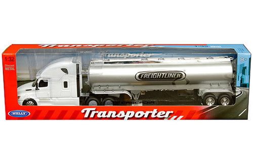 FREIGHTLINER CASCADIA WHITE TRANSPORTER GAS TANKER SEMI TRUCK & TRAILER 1/32 SCALE BY WELLY 32697