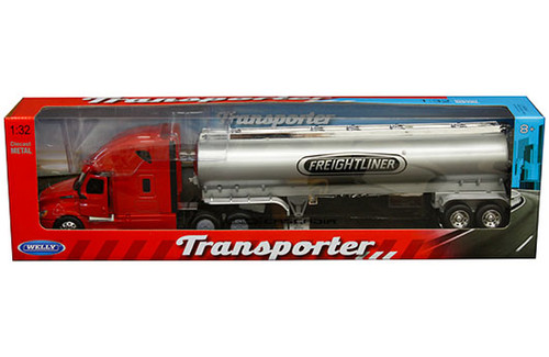FREIGHTLINER CASCADIA RED TRANSPORTER GAS TANKER SEMI TRUCK & TRAILER 1/32 SCALE BY WELLY 32697