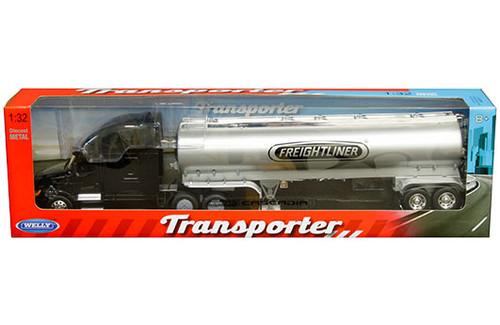 FREIGHTLINER CASCADIA BLACK TRANSPORTER GAS TANKER SEMI TRUCK & TRAILER 1/32 SCALE BY WELLY 32697