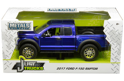 2017 Ford F-150 Raptor Truck Candy Blue Just Trucks 1/24 Scale By Jada 98583