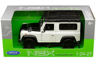 Land Rover Defender White Roof Rack 1/24 Scale Diecast Car Model By Welly 24986