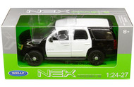 2008 Chevrolet Tahoe SUV Police Version Black & White 1/24 Scale Diecast Car Model By Welly 22509