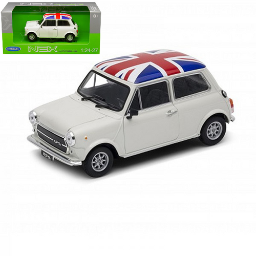 MINI COOPER 1300 WHITE UK FLAG 1/24 SCALE DIECAST CAR MODEL BY WELLY 22496