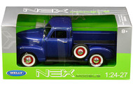 1953 Chevrolet 3100 Pickup Truck Blue 1/24 Scale Diecast Car Model By Welly 22087