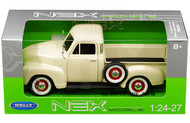 1953 Chevrolet 3100 Pickup Truck Beige 1/24 Scale Diecast Car Model By Welly 22087