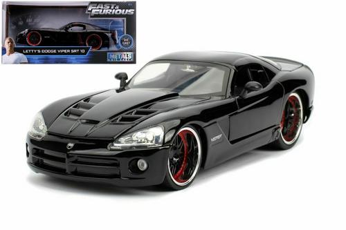 DODGE VIPER SRT10 BLACK LETTYS FAST & FURIOUS 1/24 SCALE DIECAST CAR MODEL BY JADA 30731