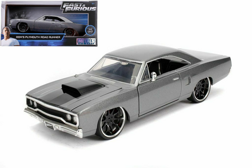 1970 PLYMOUTH ROAD RUNNER GREY DOMS FAST & FURIOUS 1/24 SCALE DIECAST CAR MODEL BY JADA 30745