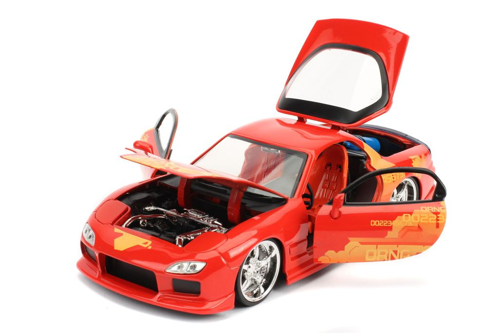 "DOM/'S MAZDA RX-7 RED /""FAST /& FURIOUS/"" MOVIE 1//24 DIECAST MODEL CAR BY JADA 98338"