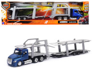 Freightliner Cascadia With Twin Auto Carrier Blue And Gray Long Haul Trucker 1/43 Scale Diecast Model By Newray 16033