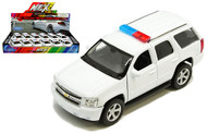 2008 Chevrolet Tahoe Police White BOX OF 12 1/32 Scale Diecast Car Model By Welly 43607PWH