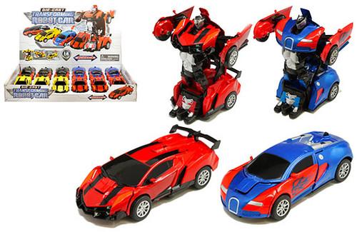 "Transforming Robot Cars Diecast Transformers BOX OF 12 5"" Long 4 Colors 2218D"