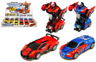"Transforming Robot Cars Diecast Transformers BOX OF 12 5"" Long 4 Colors 2218D"