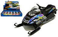 """Snow Turbo Snowmobile BOX OF 12 Pull Back Action 5"""" Long 4 Colors 5103D"""