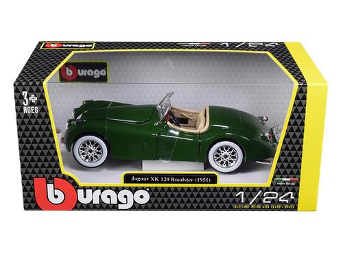 1948 Jaguar XK 120 Roadster Green 1/24 Scale Diecast Car Model by Bburago 22018