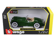 1948 Jaguar XK 120 Roadster Green 1/24 Scale Diecast Car Model by Bburago 22018