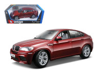 2011 BMW X6M Dark Red 1/18 Scale Diecast Car Model By Bburago 12081