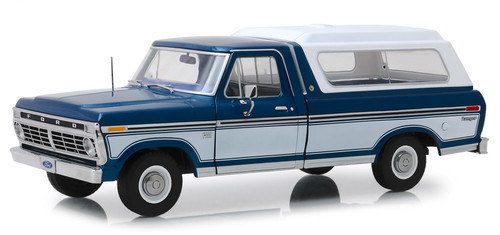 1975 Ford F-100 Ranger Pickup Truck Midnight Blue & Wimbledon White with Deluxe Box Cover 1/18 Scale Diecast Model Car Model By Greenlight 13544