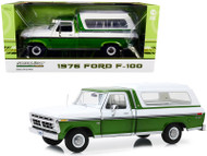 1976 Ford F-100 Ranger Pickup Truck Medium Green Glow & Wimbledon White with Deluxe Box Cover 1/18 Scale Diecast Model Car Model By Greenlight 13545