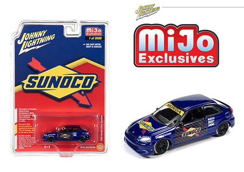 1998 HONDA CIVIC CUSTOM SUNOCO LIVERY MIJO EXCLUSIVE 1/64 SCALE DIECAST CAR MODEL BY JOHNNY LIGHTNING JLCP7193