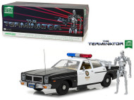 1977 Dodge Monaco Metropolitan Police With T-800 Endoskeleton Figure The Terminator Movie 1/18 Scale Diecast Car Model By Greenlight 19042