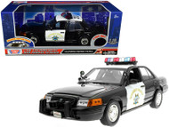Ford Crown Victoria CHP California Highway Patrol Black and White With Flashing Light Bar Front & Rear Lights & Sound 1/18 Scale Diecast Car Model By Motor Max 73993