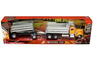 Kenworth W900 Twin Dump Truck Semi Truck & Trailer Yellow 1/32 Scale By Newray 11943
