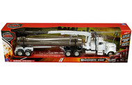 Kenworth W900 Log Trailer Semi Truck & Trailer White 1/32 Scale By Newray 13743